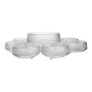 Ultima Thule by Tapio Wirkkala for Iittala, Finland Mid Century Modern Textured Glass Bowls - Set of 7 For Sale