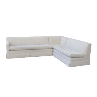 Tufted 3 Piece Vintage Sectional Sofa- Recently Reupholstered For Sale