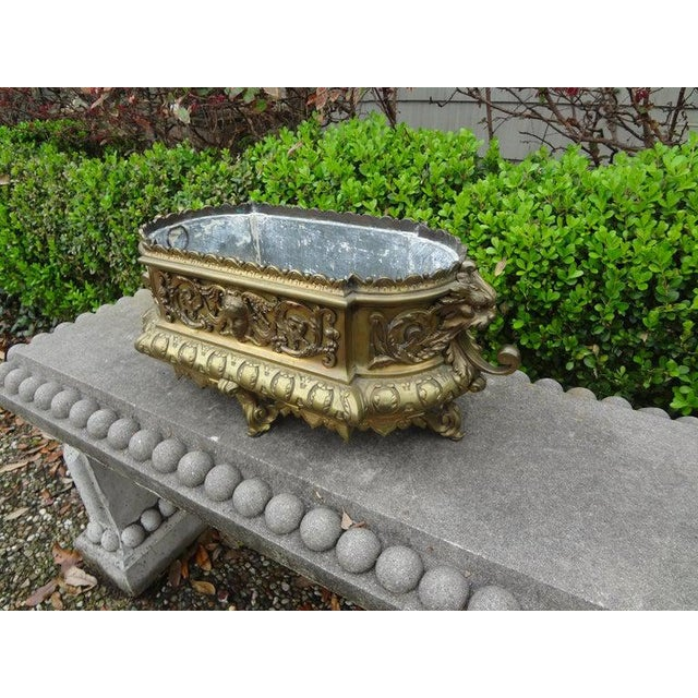 19th Century French Napoleon III Brass Jardiniere or Planater For Sale - Image 10 of 11