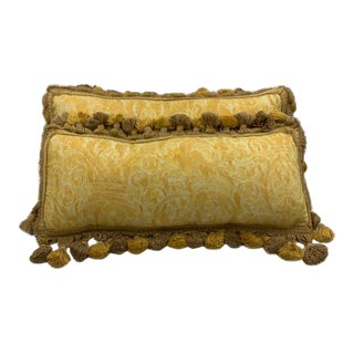 Vintage Fortuny Kidney Pillows - a Pair For Sale