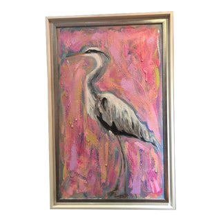 Egret on Canvas Painting For Sale