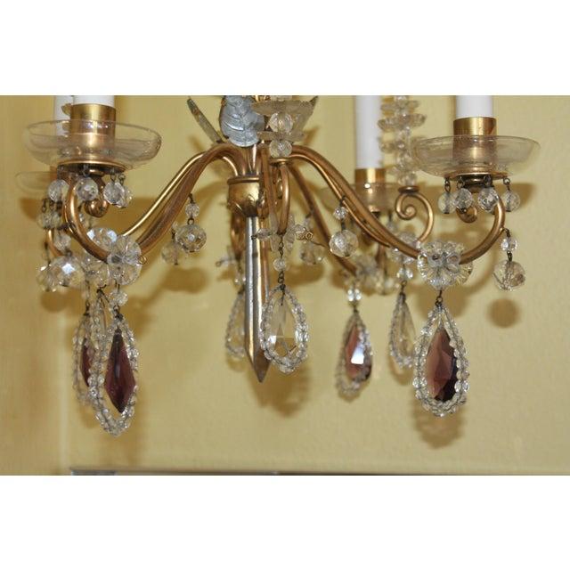 Maison Baguès C1940s Hollywood Regency Maison Bagues Dore Bronze & Crystal Chandelier For Sale - Image 4 of 13