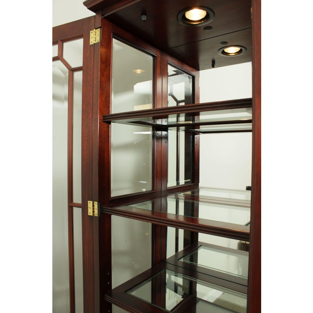 Henkel Harris Large Chippendale Style Mahogany Beveled Glass Breakfront China Cabinet #2382 For Sale - Image 10 of 12
