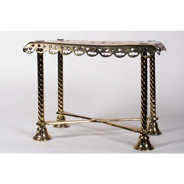 19th Century Antique Brass Fireplace Rectangular Kettle Trivet W/ Crossbars, Bell Shaped Feet, Pierced Top & Sides For Sale - Image 10 of 10