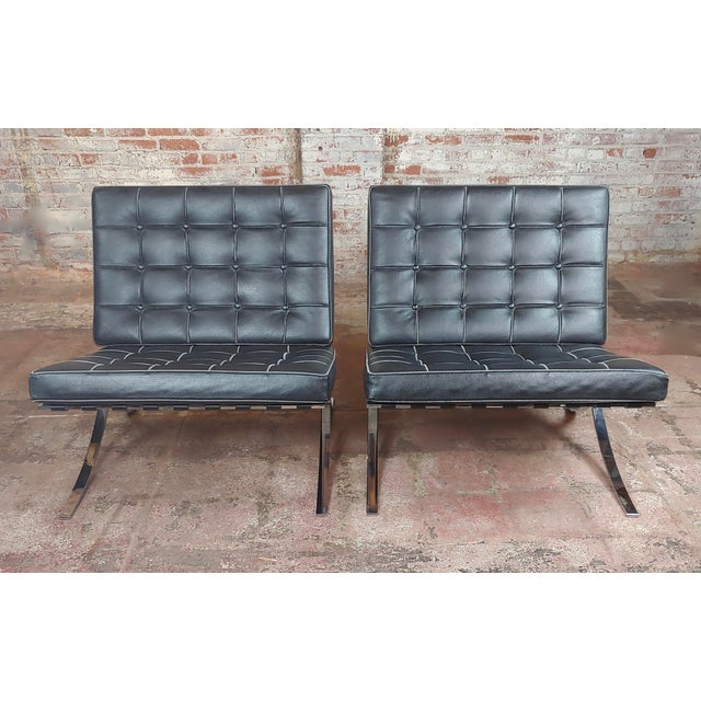 """Barcelona Chairs -Beautiful Vintage Black Leather Seats -A Pair size 30 x 32 x 31"""" seat height 18"""" A beautiful piece that..."""