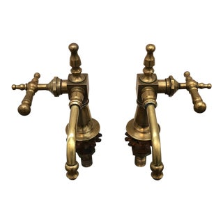 Antique French Brass Faucet Fixtures, Pair