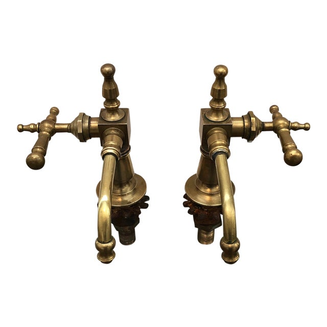 Antique French Brass Faucet Fixtures, Pair - Image 1 of 11