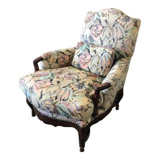 Bausman & Company Country French Upholstered-Bow Front Carved Wood-High Back Arm Chair For Sale