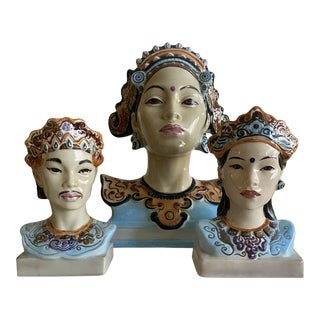 Goldscheider Javanese and Balinese Porcelain Busts - Set of 3 For Sale