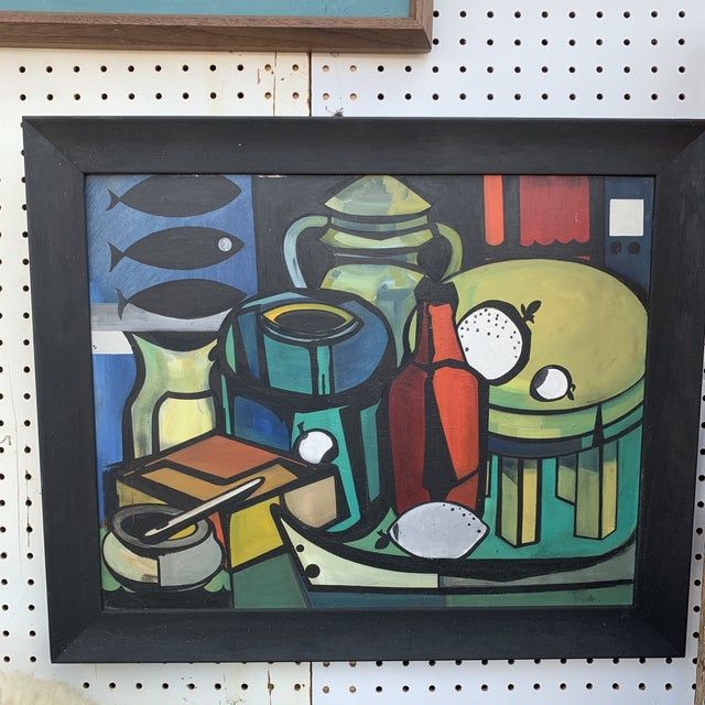 """Cubist Still Life With Bottles and Fish Signed on Verso """"m. Ridley"""" and """"Marleen Wooling"""" on the Frame For Sale In Seattle - Image 6 of 6"""