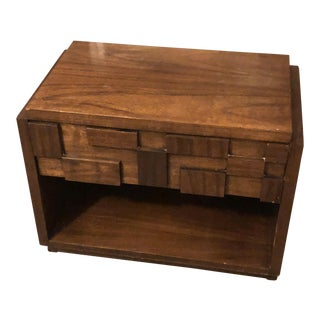 1970s Brutalist Lane Furniture Mosaic Bedside Table For Sale
