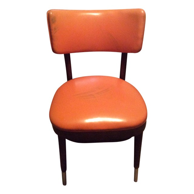 Shelby Williams Vintage Retro Orange Side Chair For Sale