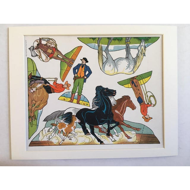 Yippee ti yi yi! Git along, little dogies.... Here is the Old West, one print on card stock from a 1940's set of cut-outs...
