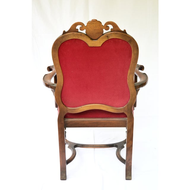Bohemian Red Velvet Dining/Accent Chairs - A Pair - Image 6 of 7