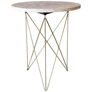 1955 Mid-Century Modern Martin Perfit for Rene Brancusi Stone and Brass Occasional Table For Sale