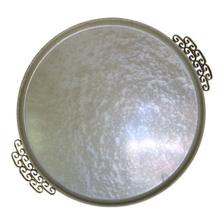 Mid-Century Modern Moire Glaze Kyes Hand Made Cream and White Enamel Tray From Pasadena, California