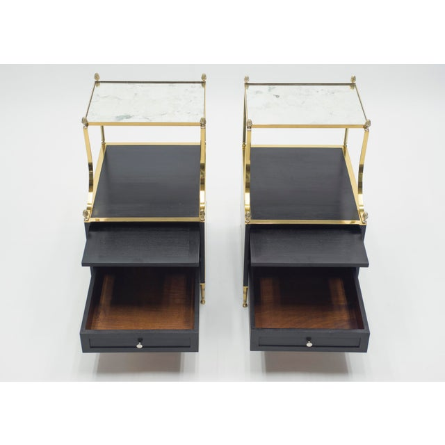 Rare Pair of French Maison Charles Brass Mirrored End Tables 1950s For Sale - Image 6 of 13