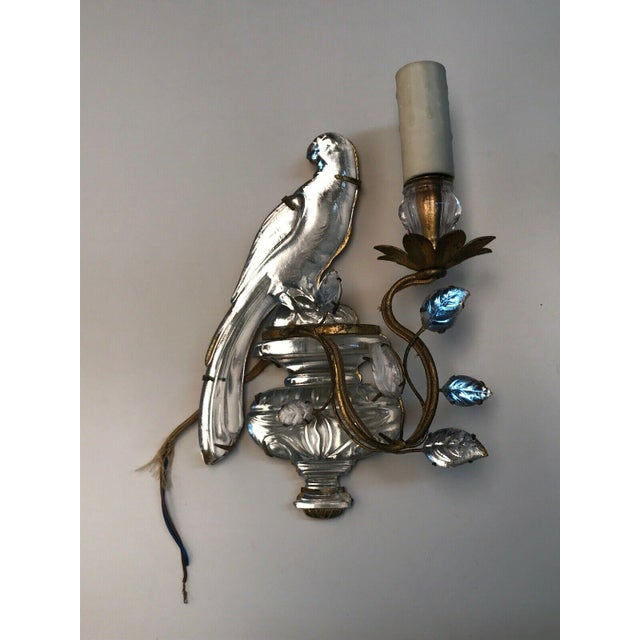 Gold French Art Deco Maison Bagues Paris Crystal Parrot Sconce/ Wall Lamp, Left Side Face Profile For Sale - Image 8 of 8