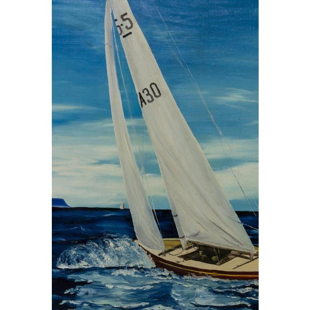 Americana Americana Sailboat Large Framed Oil Painting, by R. Morrow For Sale - Image 3 of 11