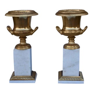 Pair of Ormolu and Marble Urns For Sale