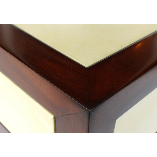 Chrome Williams & Sonoma Home Mahogany & Parchment Side Table For Sale - Image 7 of 11