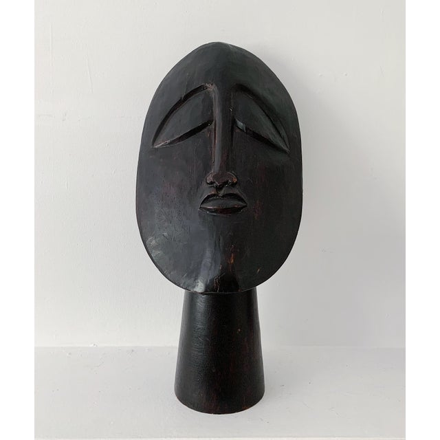1970s Vintage Hand Carved Wooden African Head Sculpture For Sale - Image 10 of 11