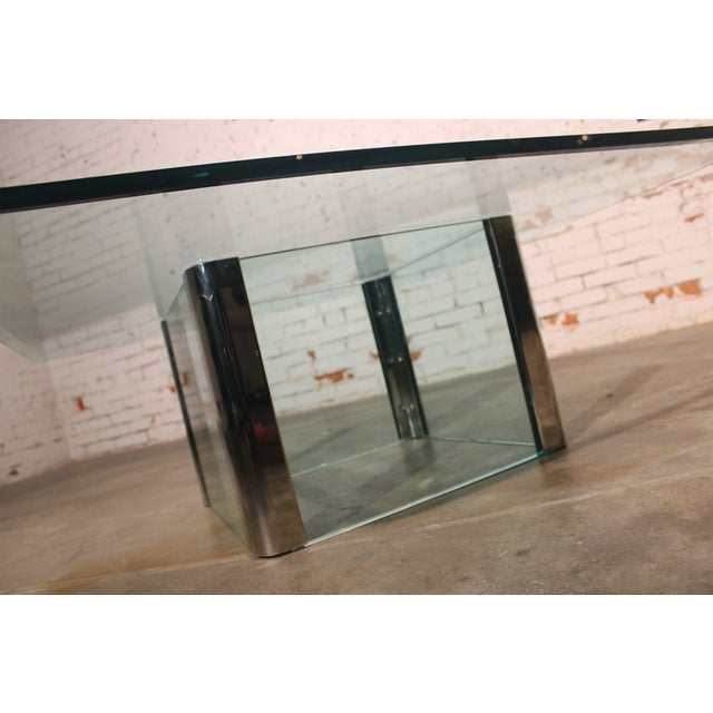 Pace Collection Chrome & Glass Square Coffee Table For Sale - Image 5 of 11