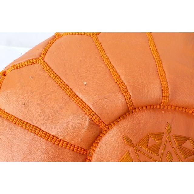 Mid Century Modern Orange Ottoman - Image 8 of 11