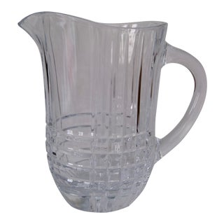 Late 20th Century Vintage Crystal Glass Checkered Pitcher by Tiffany & Co For Sale