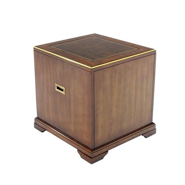 Three Drawer Campaign Style Three-Drawer Chest Occasional Cabinet Stand Table For Sale - Image 9 of 10