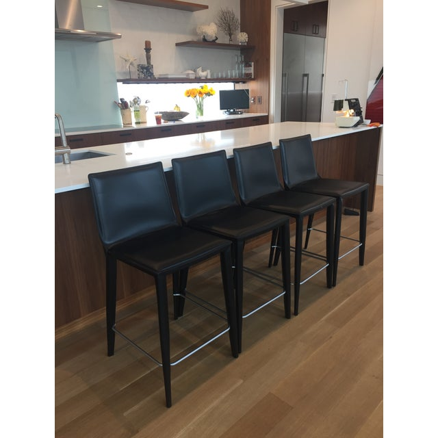 Black Leather Bottega Counter Stools - Set of 4 - Image 9 of 11