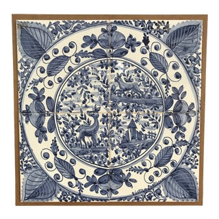 1930s Vintage Portuguese Blue & White Tile For Sale