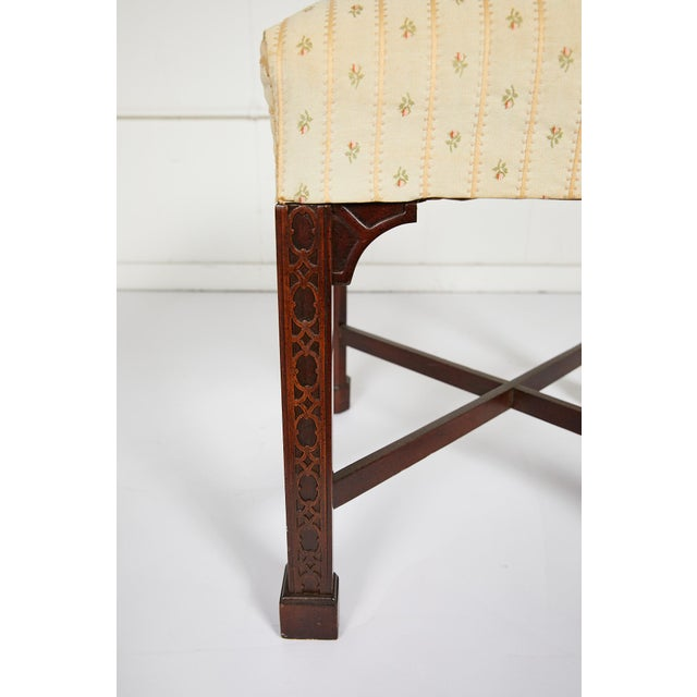 English Chinese Chippendale Style Mahogany Stool For Sale - Image 9 of 13