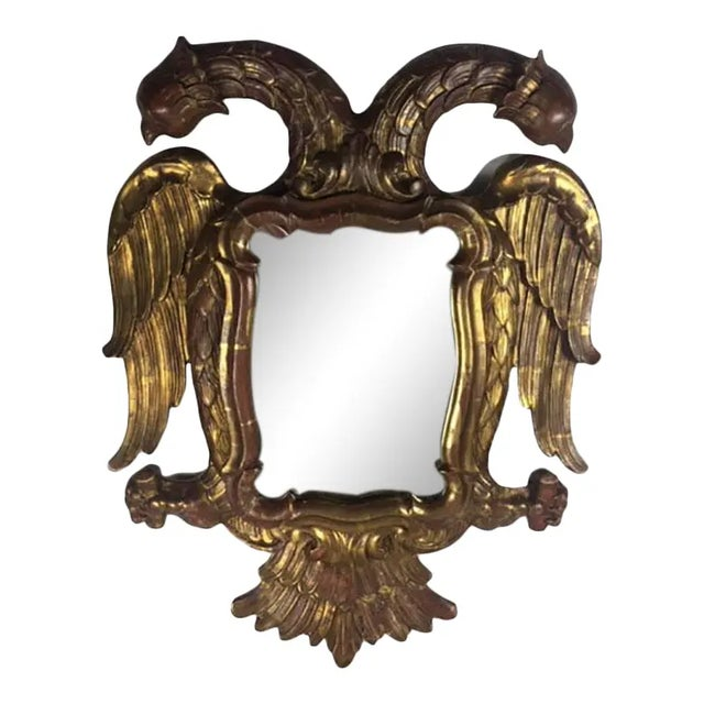 Gold Late 19th Century Carved Giltwood Two-Headed-Eagle Wall Mirror For Sale - Image 8 of 8