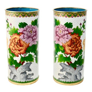 Chinese Cloisonne Cylinder Vases - a Pair For Sale