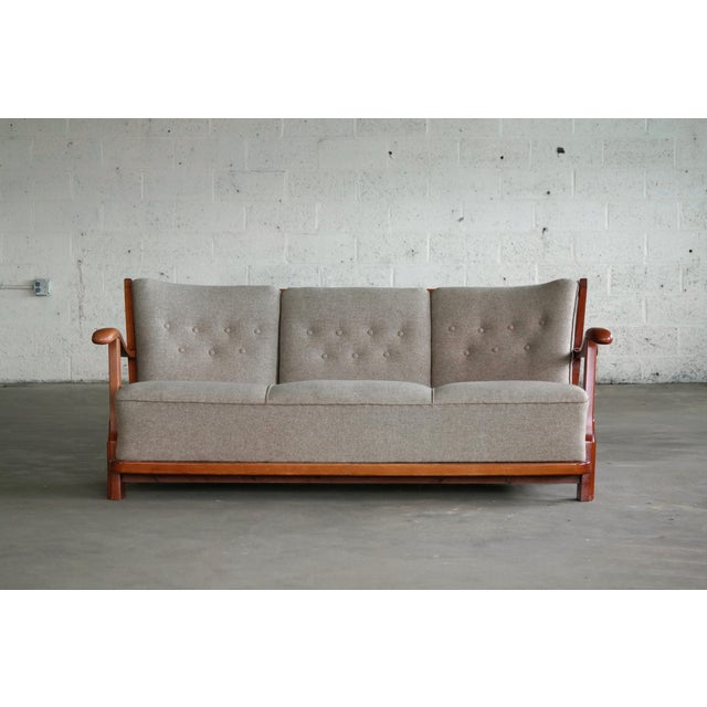 Art Deco Fritz Hansen 1940's Model 1594 Spindle Back Sofa Danish Midcentury For Sale - Image 3 of 13