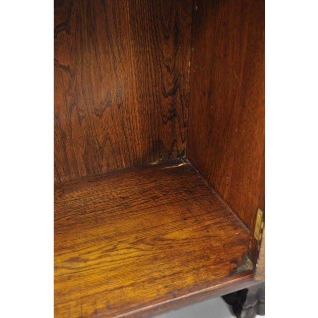 Victorian Oak Glass Two Door Bookcase With Claw Feet Lion For Sale - Image 9 of 13