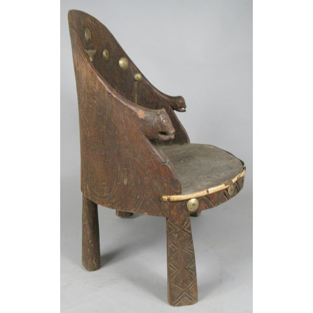 English Carved Chief's Chair From Nagaland, India For Sale - Image 3 of 9