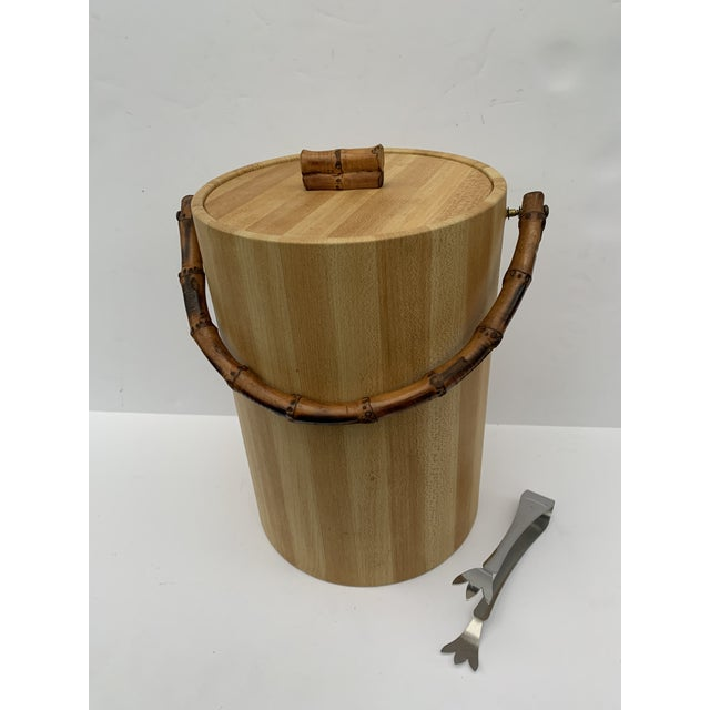 MCM Vinyl and Bamboo Ice Bucket Set For Sale - Image 13 of 13