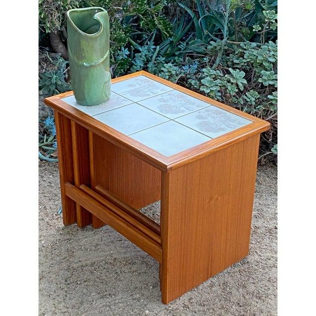 1970s Vintage Danish Modern Teak Tile Top Nesting Tables by Trioh - Set of 3 For Sale - Image 5 of 6