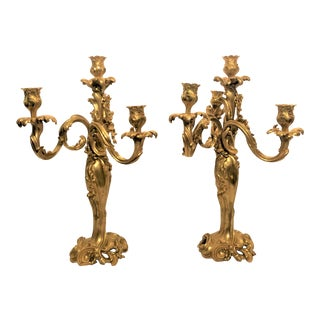 Pair Antique Finely Cast Bronze d'Ore Candelabra, Circa 1860. For Sale