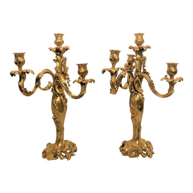 Pair Antique Finely Cast Bronze d'Ore Candelabra, Circa 1860. For Sale