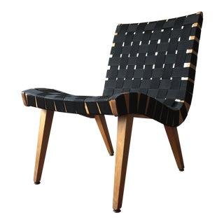 1940s Vintage Knoll Jens Risom Black Lounge Chair For Sale