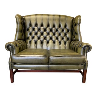 Vintage Mid-Century English Leather Wingback Chesterfield 2 Seat Sofa, Green For Sale