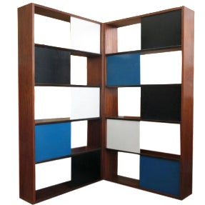 Evans Clark Color Block Bookcase For Sale