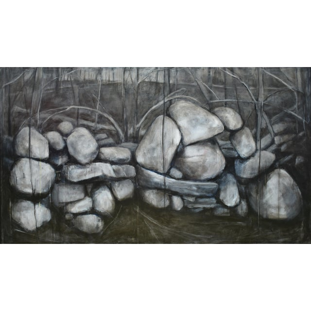 "Titled ""Mending Wall ~ Double Portrait"". This is one of several stone wall paintings in a series of mine inspired from..."