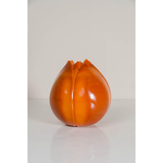Orange Persimmon Peking Hand Blown Glass Lotus Bud Shape Vase by Robert Kuo, Limited Edition For Sale - Image 8 of 8
