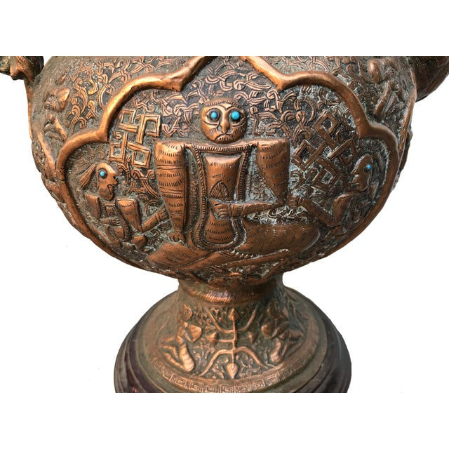 Metal Antique Tibetan Repousse Copper Wine Vessel Lamp With Inlaid Turquoise For Sale - Image 7 of 7