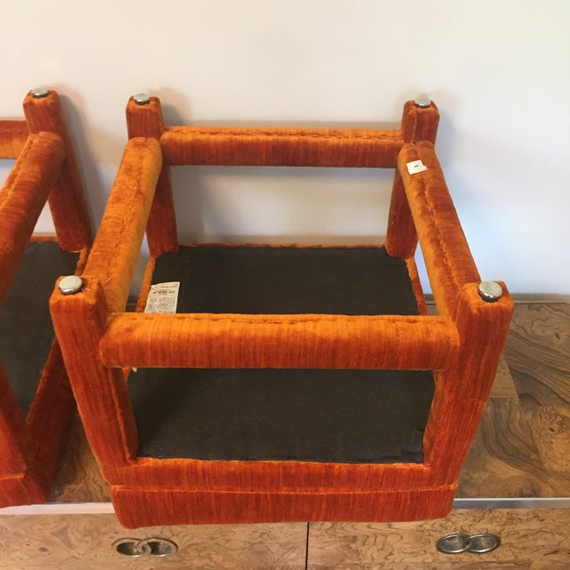 1970s Orange Velvet Console Table With Parsons Style Ottomans, Set of 3 For Sale - Image 10 of 12
