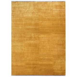 Solid Silk Gold Area Rug by Carini, 10'x14' For Sale